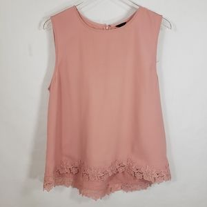 Ann Taylor Pink Lace Embroidered Blouse Sz Large
